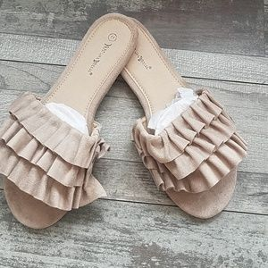 Shoes - Vegan suede ruffled tan slides flats NWT